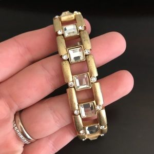 J.Crew Gold and Crystal Stretch Bracelet
